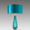 Turq. Twisted Glass 'barron' Table Lamp With Turq. Drum Shade