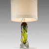 Green Twisted Glass 'oriana' Table Lamp With White Band Drum Shade