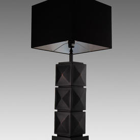"Aged Black Metal Squares ""Carlo"" Table Lamp with Square Black Shade"