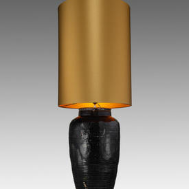 Large Black Handmade Antique  Urn Table Lamp with Large Gold Cylinder Shade
