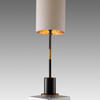 Black & Gold 'alix' Column Table Lamp With White Cylinder Shade/Gold Inner
