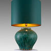 Green Mottled Ceramic Bulbous Table Lamp With Green Drum Shade