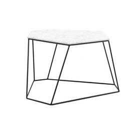 White Marble Six Sided ''Bunker'' Coffee Table on Wire Stand