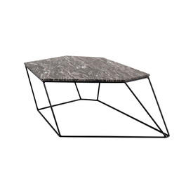 Black Marble Six Sided ''Bunker'' Coffee Table on Wire Stand