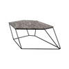 Black Marble Six Sided ''bunker'' Coffee Table On Wire Stand ( H 30cm X W 79cm X D 65cm )