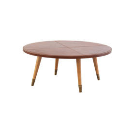 Circ Brown Leather Top Coffee Table with Wooden Legs