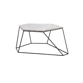 Grey Marble Six Sided ''Bunker'' Coffee Table on Wire Stand