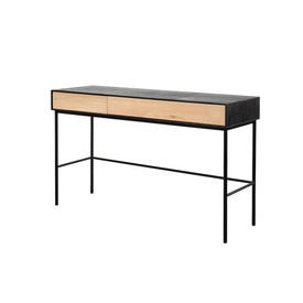 "Black & Oak Wooden ""Blackbird"" Desk with 2 Drawers"