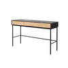 Black & Oak Wooden 'blackbird' Desk With 2 Drawers (127cm X 41cm X 75cm H)