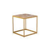 Medium Square Elm Wood & Brushed Gold Lamp Table