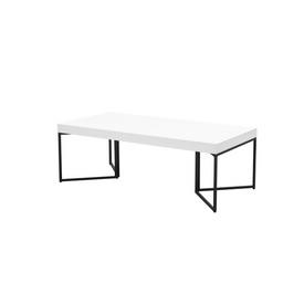 Rect White Glossed Coffee Table on Black Legs