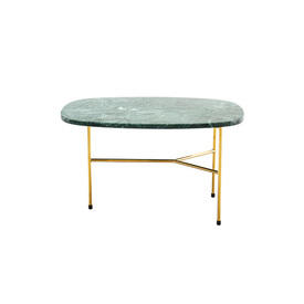 "Large Rect Green Marble ""Pod"" Lamp Table on Gold Base"