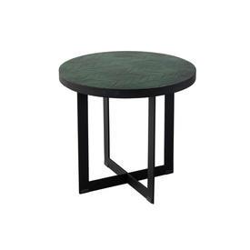 Medium Green Fern Lamp Table on Black Base