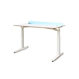 White Height ADjustable ''Aero'' Desk on White Frame with Light Up Panel