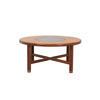 Circular Teak And Smoked Glass Coffee Table (97cm X 45cm H) (, Vintage)