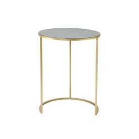 Large Circ Green Enamel Lamp Table on Gold Base