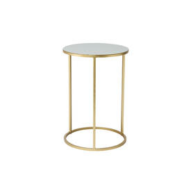 Medium Circ Grey Enamel Lamp Table on Gold Base