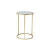 Medium Circ. Grey Enamel Lamp Table On Gold Base