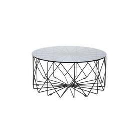 "Circ. Smoked Glass ""Vitro"" Coffee Table on Black Frame"