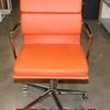 Bright Orange Soft Pad Style Chrome Swivel Base Desk Chair