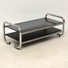 Tubular Chrome 2 Tier Smoked Glass & Black Ash Coffee Table