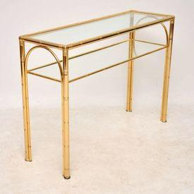 110 X 37Cm Brass Bamboo Frame 2 Glass Tier Console Table