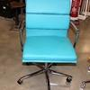 Bright Blue Soft Pad Style Chrome Swivel Base Desk Chair