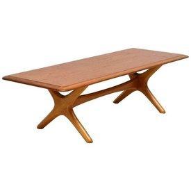Danish Teak Rounded Edge X Shaped Frame Coffee Table