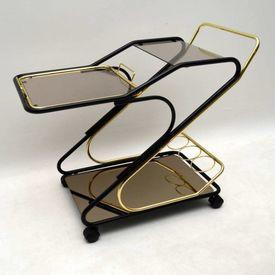 Brass &  Black Metal Frame Tinted Glass Service Trolley