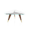 Rosewood & Satin Brass G.P Lamp Table With Triangular Clear Glass Top