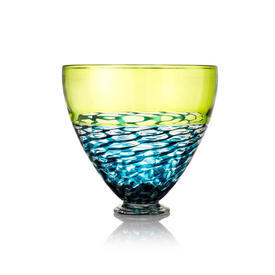 "Deep Lime Green, Blue & Clear ""Lattice"" Footed Glass Bowl"
