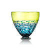 Deep Lime Green, Blue & Clear 'lattice' Footed Glass Bowl
