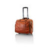 Enzo Rossi Tan Leather Briefcase On Wheels