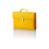 Nava Yellow Leather Stitched Briefcase