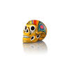 Large Yellow Painted Ceramic Skull