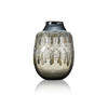 Large Blue & Black Bulbus Glass Vase With Jewelled Detail
