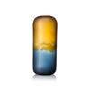 Large Blue & Caramel 'vitus' Frosted Glass Cylinder Vase