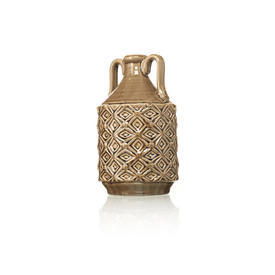 Brown Pattern Ethnic Vase With Handle