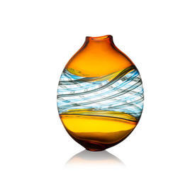 "Round Amber, Blue & Clear Glass ""Pasteralli"" Vase"