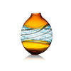Round Amber, Blue & Clear Glass 'pasteralli' Vase