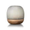 X  Large Ribbed Glass 'namsam' Ball Lantern On Walnut Wood Base
