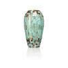 Turquoise Mosaic Glass Torpedo Vase