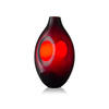 Arcade Red Oval Glass He Vase With Hole