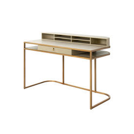 "Washed Oak & Brushed Brass ""Highland"" 2 Part Desk with Shelf"