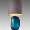 Tall Ocean Blue 'patara' Glass Ribbed Table Lamp With Grey Cylinder Shade