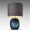 Medium Ocean Blue 'patara' Glass Ribbed Table Lamp With Grey Drum Shade