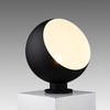 Large Black Metal Globe Table Lamp With White Inner