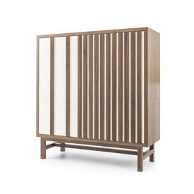 Walnut Slatted & Cream Ceramic Cabinet