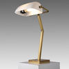 Gold Bankers Lamp with White Shade
