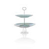Blue Pearlised Glass Two Tier Cake Stand
